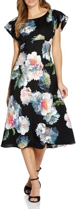 Adrianna Papell Floral Fit & Flare Crepe de Chine Midi Dress