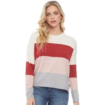 Brave Soul Womens Soft Stripe Colour Block Jumper Red Combo