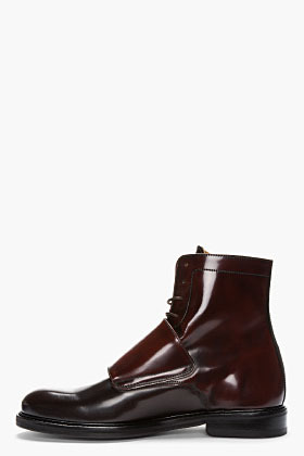 Carven Burgundy two-tone monk strap boots