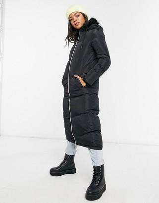 Brave Soul maxi padded jacket in black