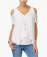 Amy Byer Juniors' Cold-Shoulder Necklace Top