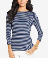 Lauren Ralph Lauren Three-Quarter-Sleeve Boat-Neck Striped Top