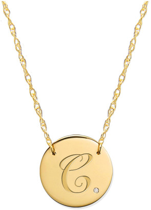 Jane Basch 14K Diamond Initial Disc Necklace (A-Z)