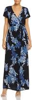 Olivaceous Floral Print Maxi Wrap Dress