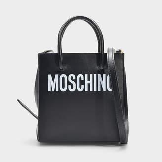 Moschino Small Shoulder Logo Bag In Black Calfskin