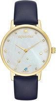 Kate Spade Women's Metro Zodiac Aquarius Blue Leather Strap Watch 34mm KSW1200