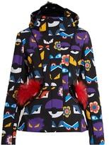 Fendi Wonders Eye-print fur-trim ski jacket
