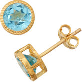 FINE JEWELRY Genuine Swiss Blue Topaz 14K Gold Over Silver Stud Earrings
