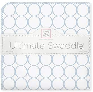 Swaddle Designs Ultimate Winter Swaddle, X-Large Receiving Blanket, Made in USA, Premium Cotton Flannel, Pastel Blue Mod Circles (Mom's Choice Award Winner)