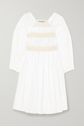 Molly Goddard Shickle Canvas-trimmed Gathered Cotton-poplin Dress - White