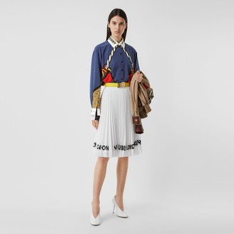 Burberry Logo Print Crepe De Chine Pleated Skirt