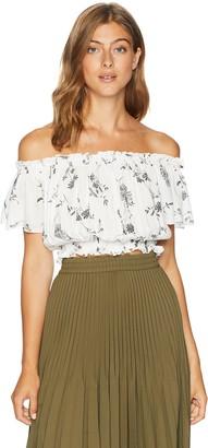 En Creme Women's Off Shoulder Floral Crop Top