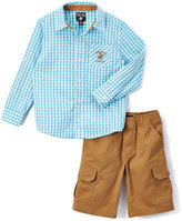 Beverly Hills Polo Club Aquarius & Brown Gingham Button-Up & Cargo Shorts - Boys