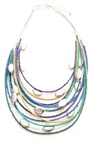 Marc Labat Ethnic Chic 13E172 Women's Necklace Silver-Plated Metal Glass and Beads 69 cm