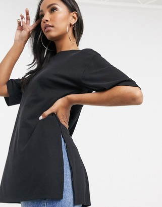 Asos Design DESIGN relaxed longline t-shirt in rib with side splits in black