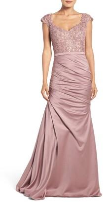 La Femme Embellished Lace & Satin Trumpet Gown
