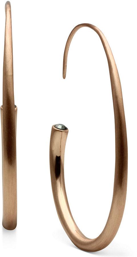 Jill Zarin Earrings, Rose Gold-Tone C Hoop Earrings