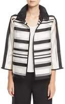 Caroline Rose Ruched Satin-Striped Organza Jacket, Petite