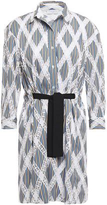 Sandro Celian Tie-front Crochet And Striped Twill Mini Shirt Dress
