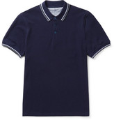 Brunello Cucinelli Slim-fit Contrast-tipped Cotton-piqué Polo Shirt - Navy