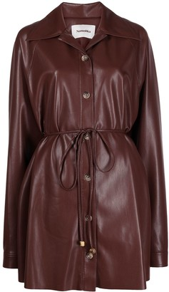 Nanushka Faux-Leather Belted Shirt Dress