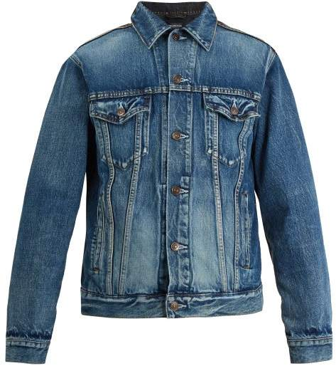 Balenciaga Contrast-panel Denim Jacket - Mens - Blue