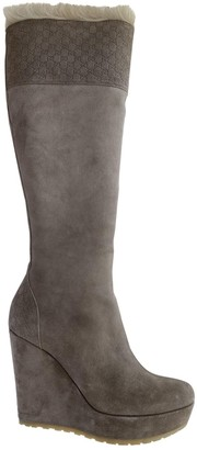 Gucci Grey Suede Boots