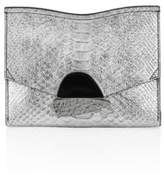 Proenza Schouler Small Curl Metallic Python-Embossed Leather Clutch