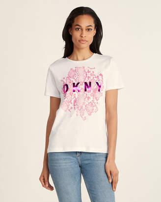 DKNY White Python Logo Tee