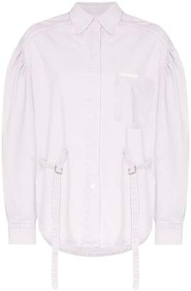 pushBUTTON back strap denim jacket