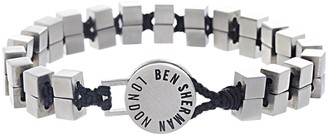 Ben Sherman Men's Stainless Steel Cube Beaded and Black Cord Bracelet with Disc Closure