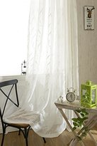 YouYee Semi-shade Linen Elegant Embroidery Solid White Sheer Window Curtains/Drapes/Panels/Treatments ,Set of 2(42x63)