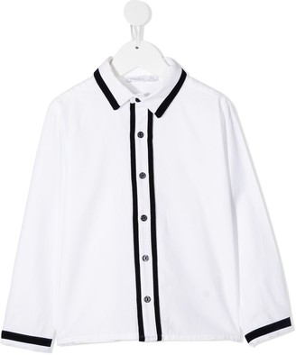 Patachou Contrast Trim Long-Sleeve Shirt