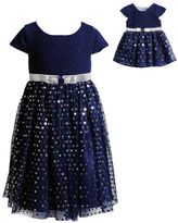Dollie & Me Girls 4-14 Sequined Mesh Dress