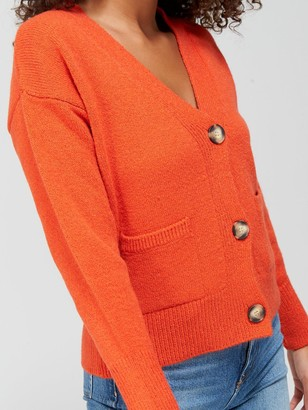 Very Button Up Short Cardigan with Pockets - Burnt Orange