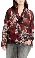 Rachel Roy Plus Size Women's Floral Tie Neck Blouse