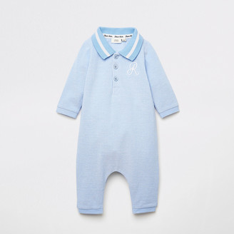 River Island Baby blue R polo collar baby grow