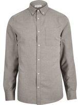 River Island MensGrey flannel long sleeve shirt