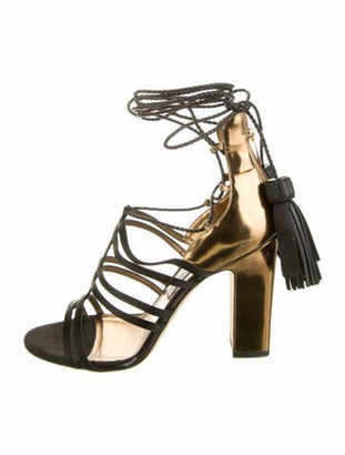Jimmy Choo Patent Leather Tassel Accents Gladiator Sandals Gold