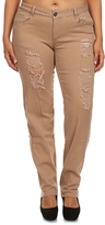 Khaki Distressed Skinny Pants - Plus Too