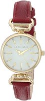 Anne Klein Women's AK/2498WTBY Glitter Accented Gold-Tone and Burgundy Strap Watch