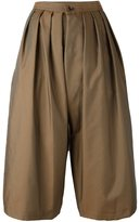 Comme des Garcons pleated cropped trousers - women - Polyester - S