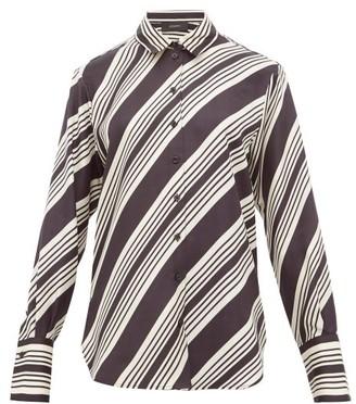 Joseph Doy Striped Silk-satin Shirt - Womens - Black White