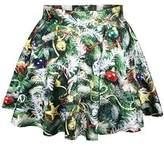 Cfanny Women's Holiday Christmas Santa Xmas Print Mini Flared Tutu Skirt,Green