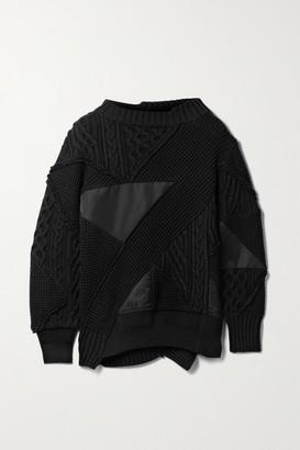 Sacai + Hank Willis Thomas Paneled Cotton-blend And Shell Sweater - Black