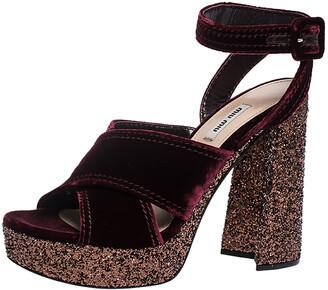 Miu Miu Burgundy Velvet Glitter Platform Ankle Strap Sandals Size 40.5