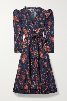 Ulla Johnson Nanette Belted Tiered Floral-print Cotton-poplin Midi Dress - Midnight blue