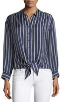 Joie Adiba Button-Front Striped Satin Top
