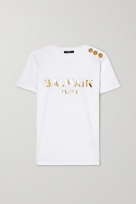 Balmain Button-embellished Printed Cotton-jersey T-shirt - White