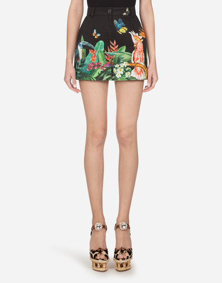 Dolce & Gabbana Shorts In Drill With Tropical Jungle Print